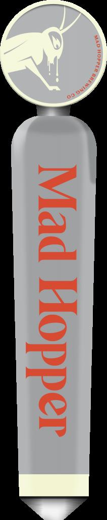 Poker Face Czech Pils beer tap label, Mad Hopper Brewing Co.