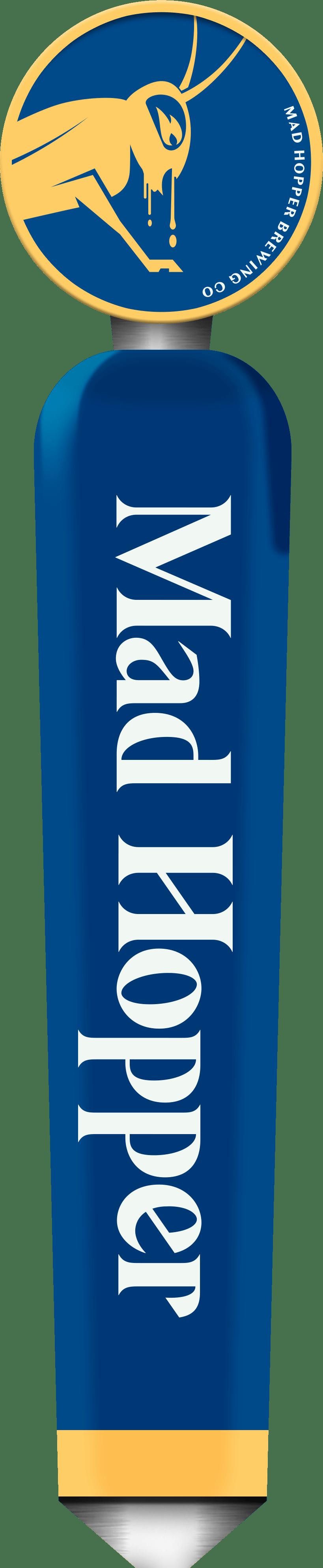 Double Decker ESB beer tap label, Mad Hopper Brewing Co., Helsinki, Finland